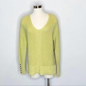 Rachel Zoe Green V-Neck Pullover Sweater
